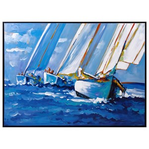 IMAX Worldwide Home Wall Art Sail Away Framed Oil Painting