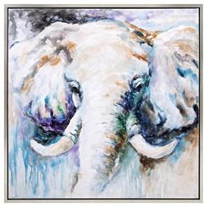 IMAX Worldwide Home Wall Art Ashen Tusks Framed Oil Painting