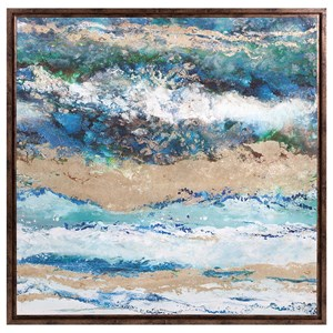 IMAX Worldwide Home Wall Art Seaside Waves Framed Canvas