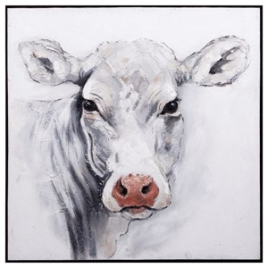 IMAX Worldwide Home Wall Art Rickey Cow Oil Painting