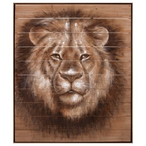 IMAX Worldwide Home Wall Art Cecil Lion Oil Painting on Wood