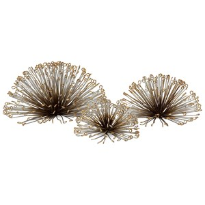 IMAX Worldwide Home Wall Art Laserette Wire Flower Wall Decor - Set of 3