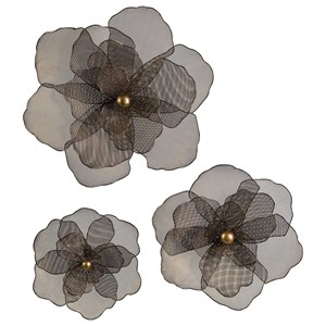 IMAX Worldwide Home Wall Art Astaire Flower Wall Decor - Set of 3