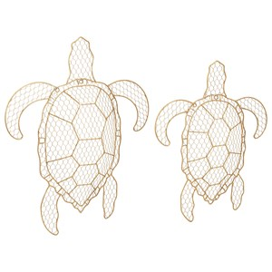 IMAX Worldwide Home Wall Art Tortuga Wire Turtle Wall Decor - Set of 2