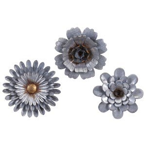 IMAX Worldwide Home Wall Art Hillary Galvanized Wall Flowers - Set of 3