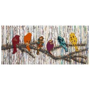 IMAX Worldwide Home Wall Art Camara Batik and Newspaper Bird Wall Decor