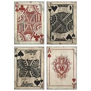IMAX Worldwide Home Wall Art Leonato Playing Card Wall Decor - Set of 4