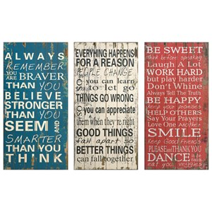 IMAX Worldwide Home Wall Art Rules of Life Wall Decor - Set of 3