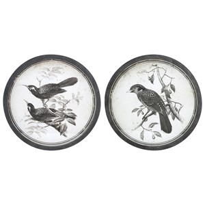 IMAX Worldwide Home Wall Art Black and White Bird Wall Decor - Ast 2