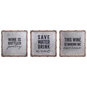 IMAX Worldwide Home Wall Art Maxwell Galvanized Wine Wall Decor - Ast 3