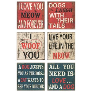 Dogs Wall Decor - Ast 6