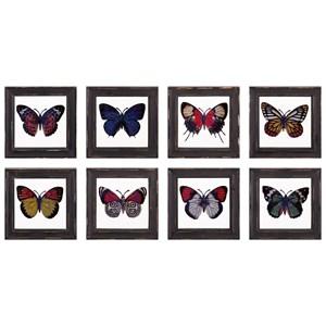 IMAX Worldwide Home Wall Art Butterfly Framed Glass Wall Decor - Ast 8