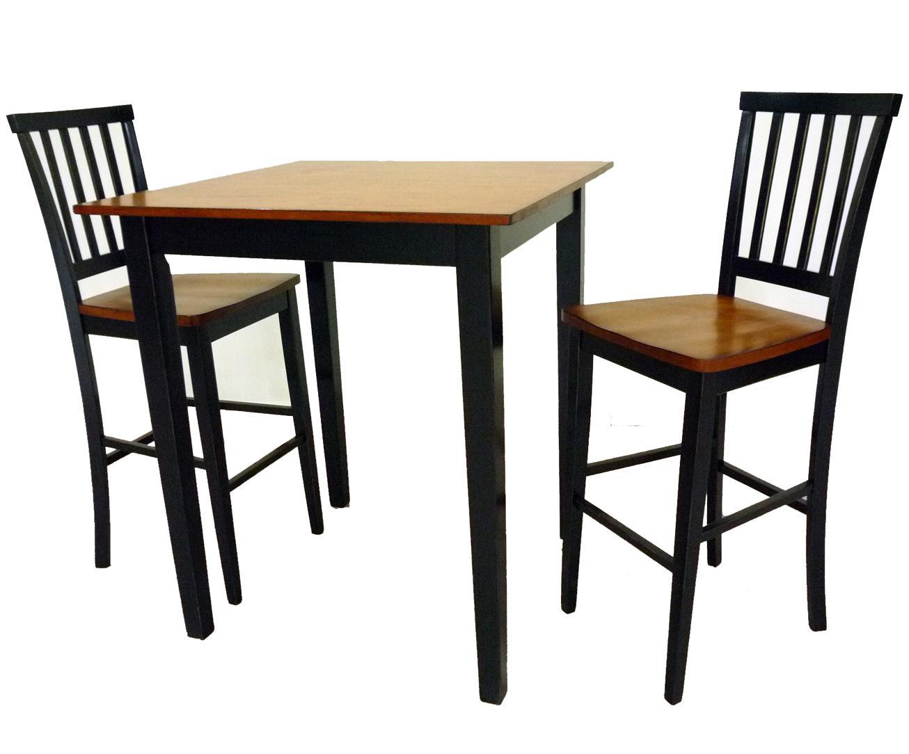 Intercon Arlington 3 Piece Pub Table & Stool Set - Item Number: AR-3642P-BSE+3636P-TOP+2xBS-180-K30