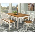 Intercon Arlington Slat Back Side Bench - Shown with Rectangular Dining Table and Side Chairs