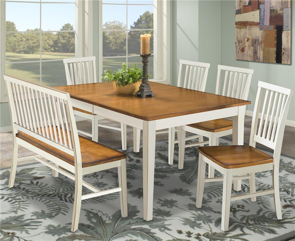 Dining Table u0026 Bench u0026 Side Chairs & Intercon Arlington Dining Table with Slat Back Bench u0026 Slat Back ...