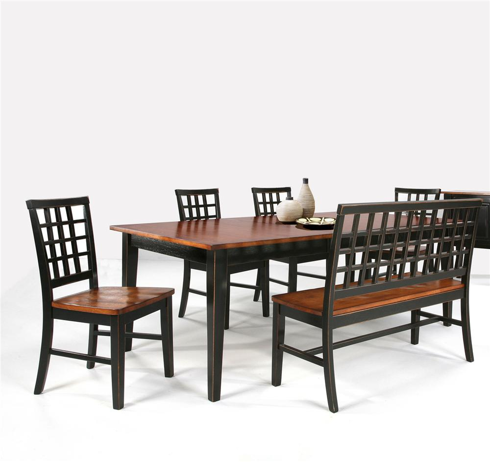 Intercon Arlington Dining Table & Bench with 4 Side Chairs - Item Number: AR-TA-4278-XXX-C+CH-185+CH-185B