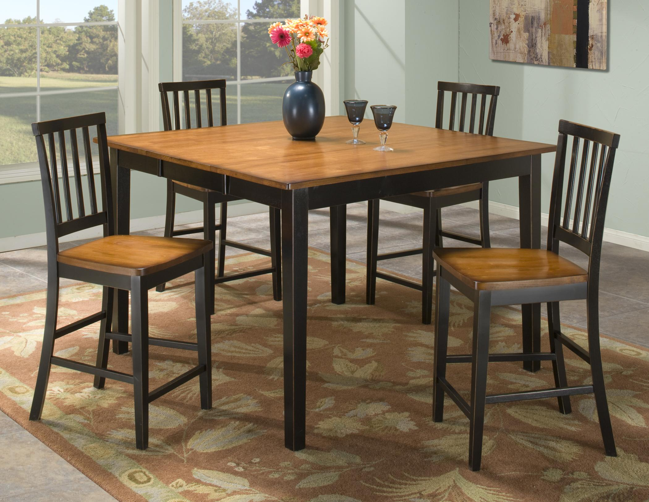 Intercon Arlington 5 Piece Gathering Table Set - Item Number: AR-TA-5454G-XXX-TOP+BSE+4xBS-180