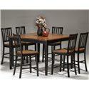 Intercon Arlington Gathering Table & Bar Stool Set - Item Number: AR-TA-5454G-XXX-TOP+BSE+6xBS-180