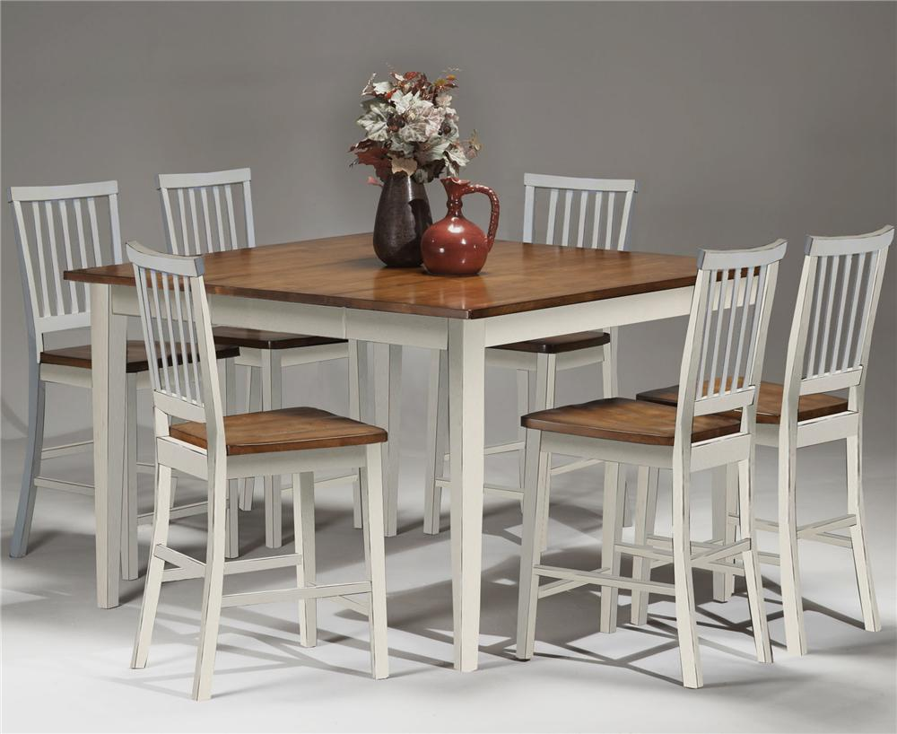 Intercon Arlington Gathering Table & Bar Stool Set - Item Number: AR-TA-5454G-XXX-TOP+BSE+6xBS-180-WH