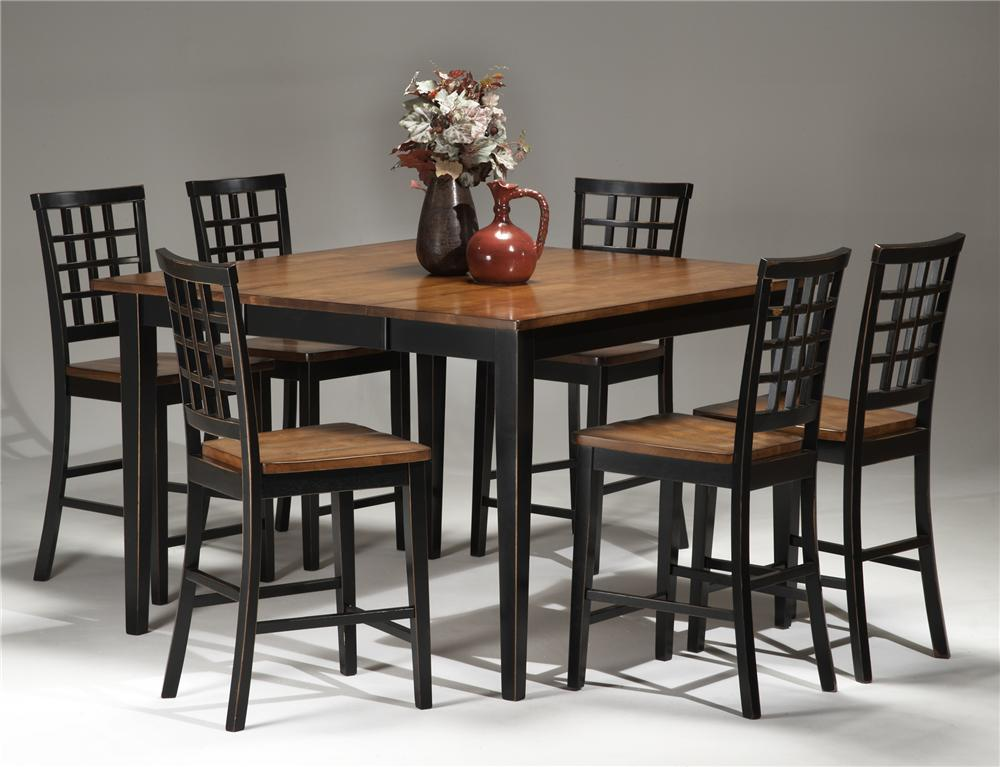 Intercon Arlington Gathering Table & Lattice Bar Stool Set - Item Number: AR-TA-5454G-XXX-TOP+BSE+BS-185