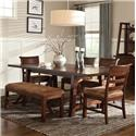 Intercon Bench Creek 5-Piece Trestle Table & Upholstered Chairs Dining Set - Bench Not Included
