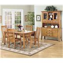 Intercon Cambridge 5 Piece Rectangular Dining Table and Side Chair Set - Shown with China Cabinet