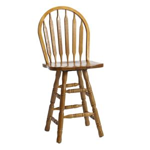 "Intercon Classic Oak 24"" Curved Arrow Back Swivel Bar Stool"