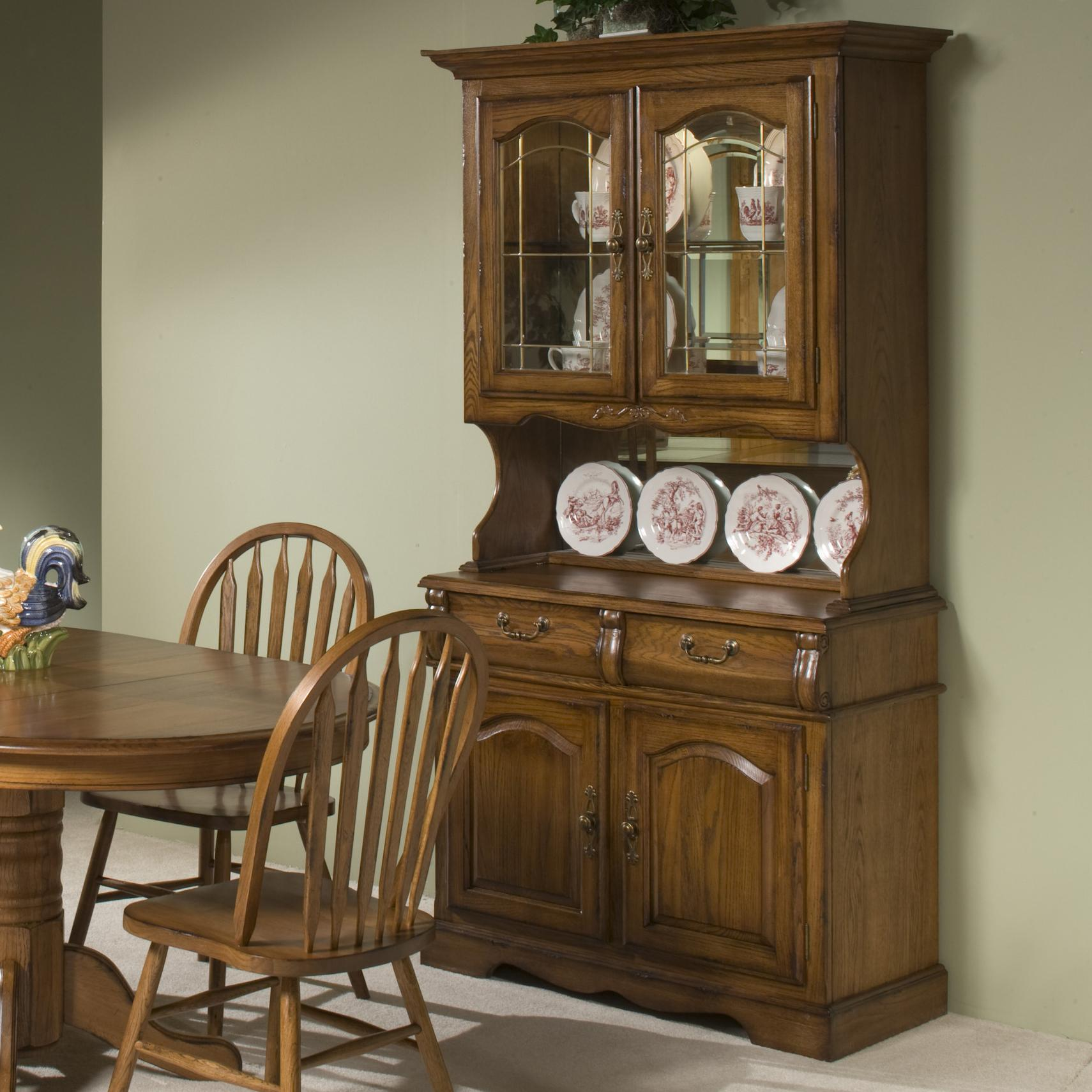 China Hutch And Buffet ~ Intercon classic oak quot china hutch with two half drawers
