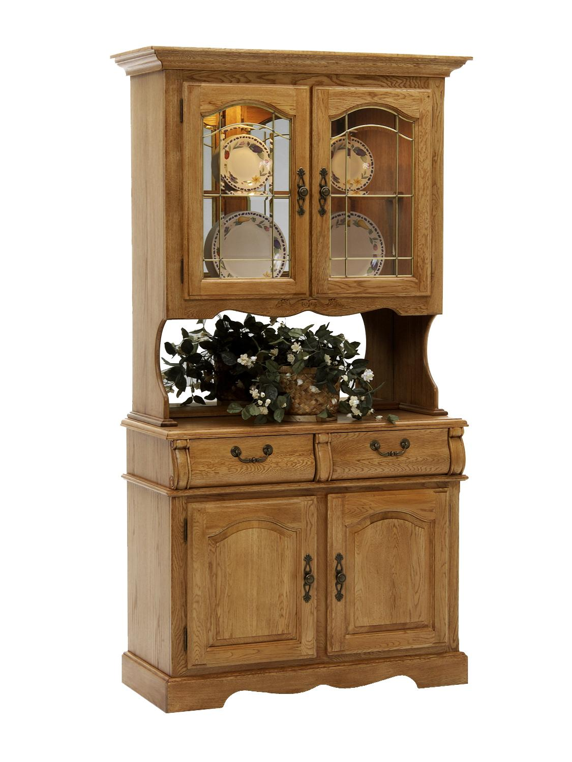 Intercon Classic Oak China Hutch and Buffet - Item Number: CO-CA-2250-CNT-BSE+TOP