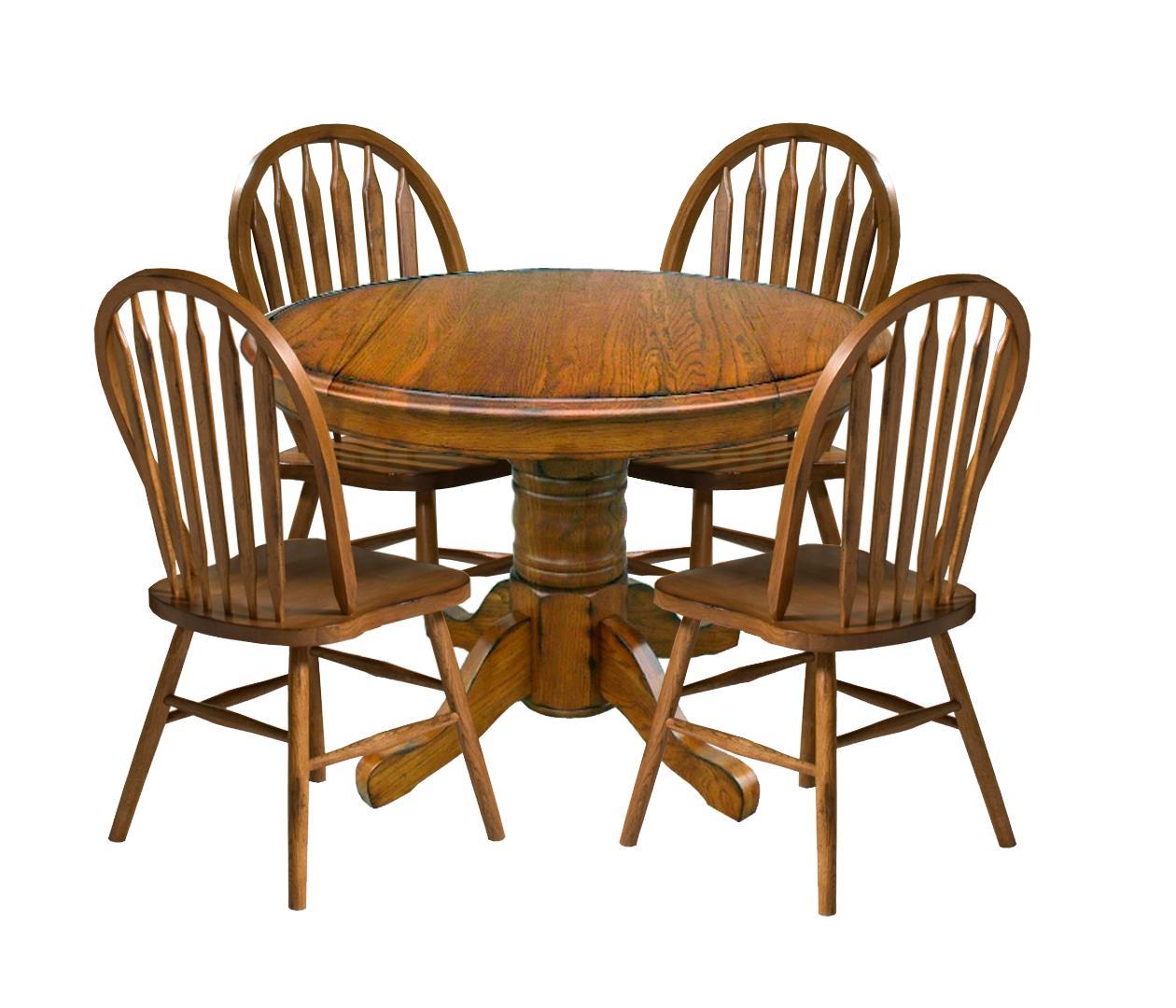 Intercon Classic Oak Five Piece Dining Set - Item Number: CO-TA-42D-BRU-BSE+TOP+4x253SH