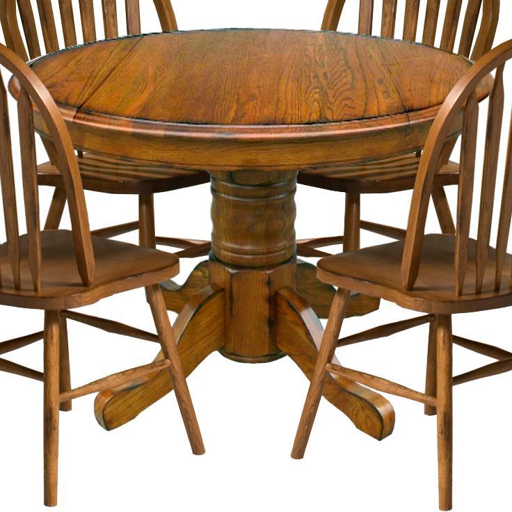 "Intercon Classic Oak 42"" Pedestal Table - Item Number: CO-TA-42D-BRU-BSE+TOP"