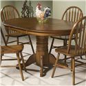 Intercon Classic Oak Pedestal Dining Table - Item Number: CO-TA-I4260-BRU-BSE+TOP