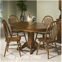 Intercon Classic Oak Single Pedestal Round Dining Table - Shown with Plain Arrow Side Chairs