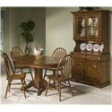 Intercon Classic Oak Single Pedestal Round Dining Table - Shown with Plain Arrow Side Chairs and China