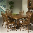 Intercon Classic Oak Trestle Table - Shown with Turned Arrow Side and Arm Chairs