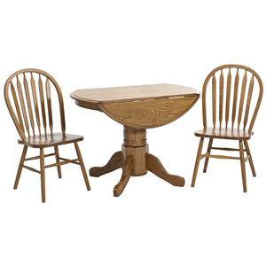 Intercon Classic Oak 3Pc Formica Top Drop Leaf Dinette