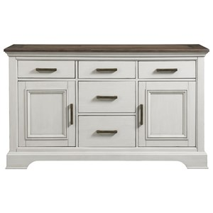 Cottage Sideboard with 5 Drawers and Interior Storage