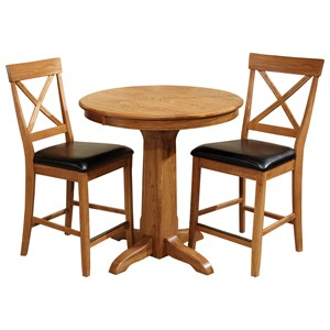 Intercon Family Dining 3 Piece Round Counter Table Set
