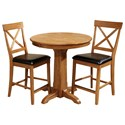 Intercon Family Dining 3 Piece Round Counter Table Set - Item Number: FD-TA-L36GS-CNT-BSE+TOP+2xBS-125C