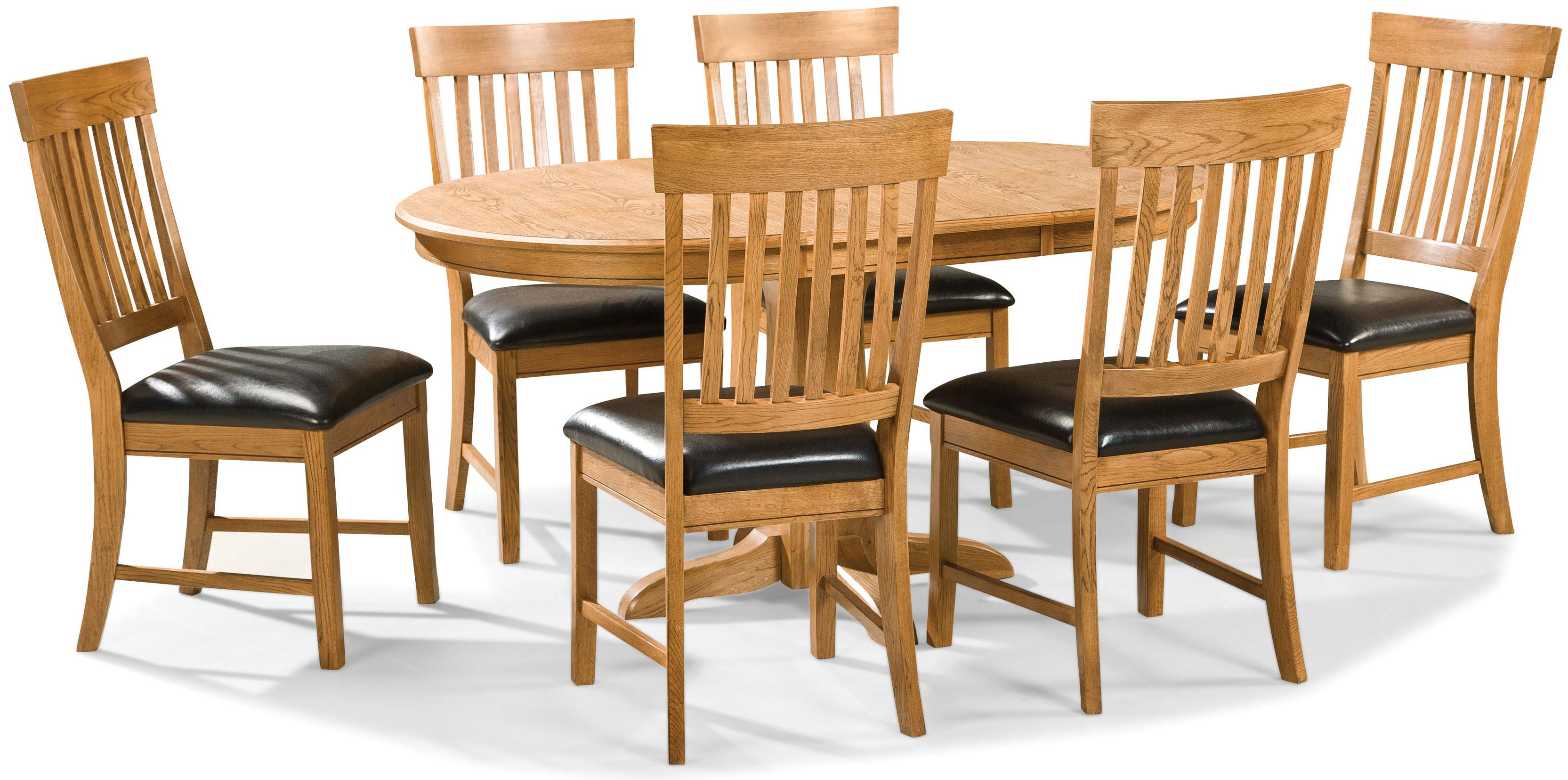 Intercon Family Dining 7 Piece Dining Set - Item Number: FD-TA-L4260-CNT-BSE+TOP+6xCH-180C