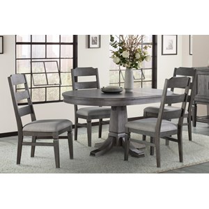 Relaxed Vintage 5-Piece Table and Chair Set with Removable Leaf
