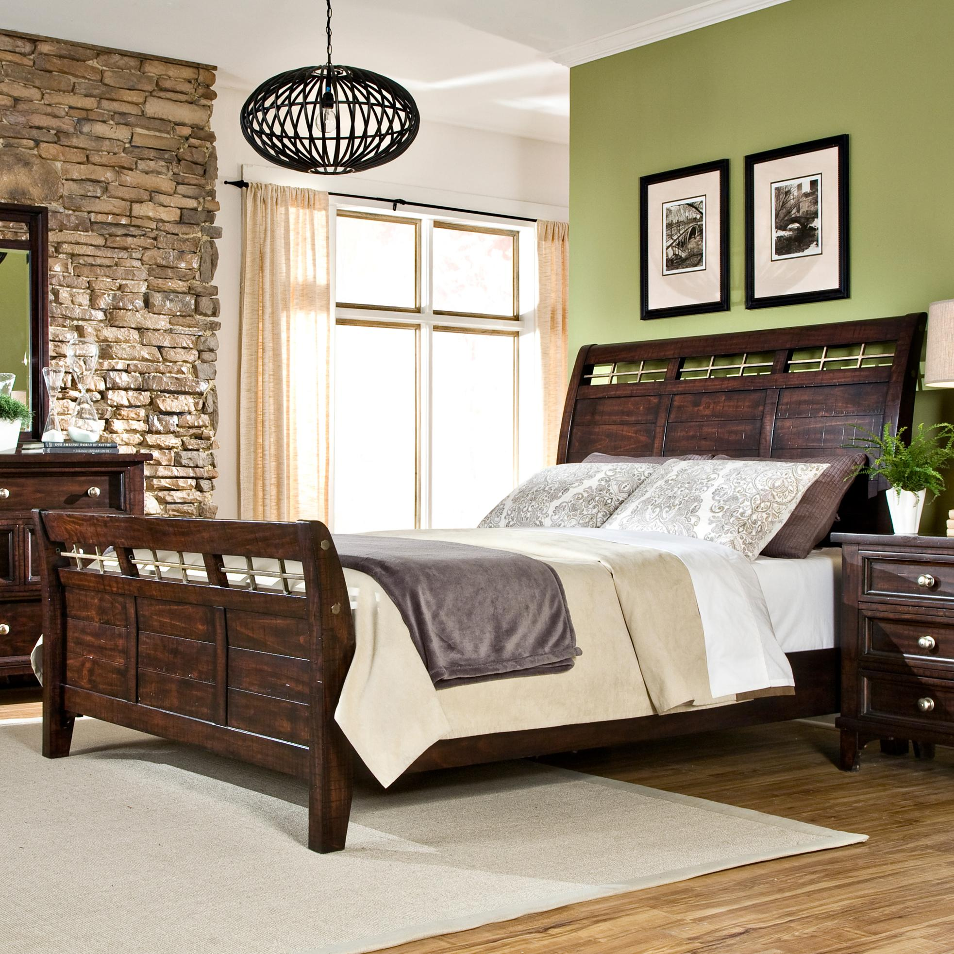 Intercon Hayden King Sleigh Bed - Item Number: HY-BR-5950K-RSE-C