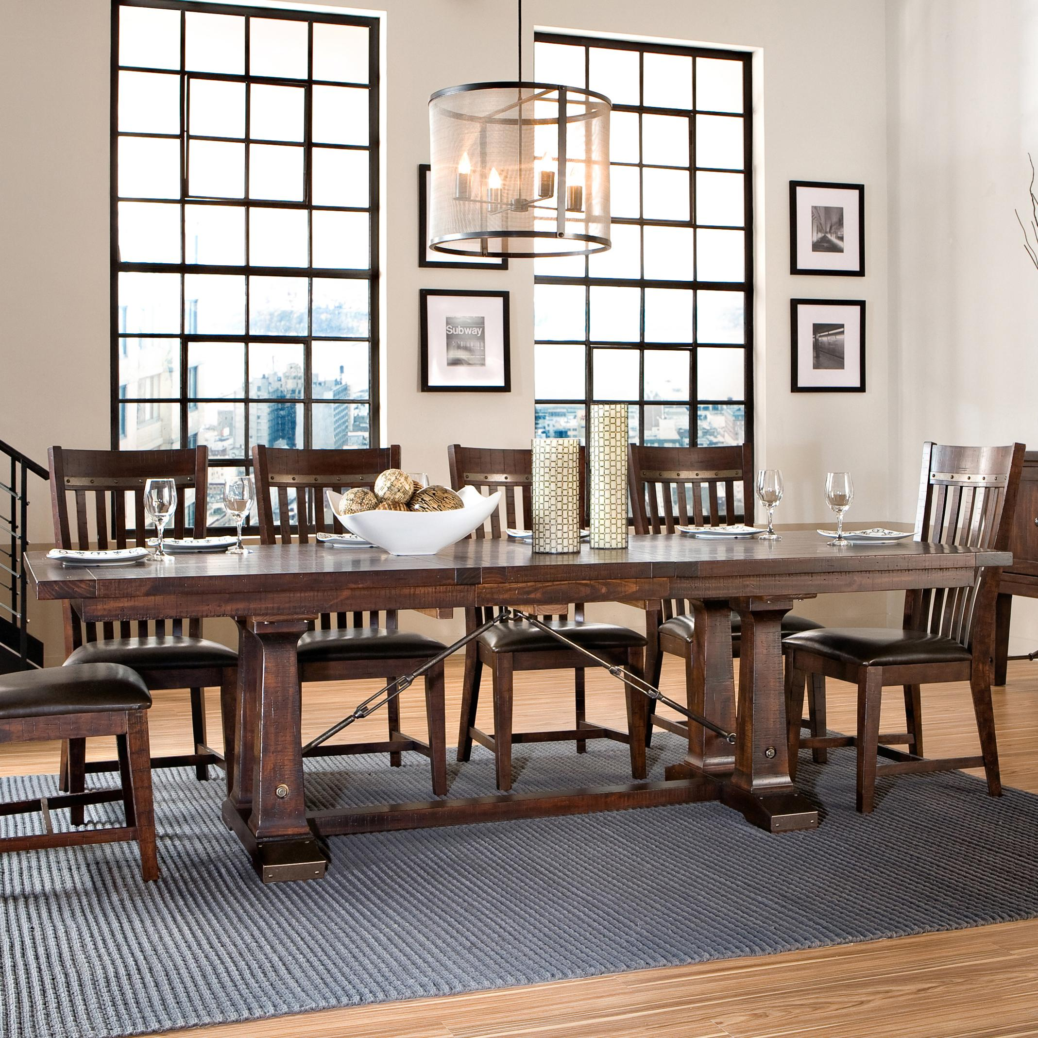 Intercon Hayden Trestle Dining Table - Item Number: HY-TA-42100-RSE-TOP+BSE