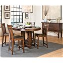 Intercon Hayden Round Gathering Table with Pedestal Base - Shown with Slat Stools & Server