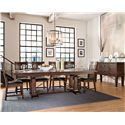 Intercon Hayden 7 Piece Trestle Table & Slat Back Chair Set - Shown with Server