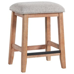 Relaxed Vintage Backless Counter Height Stool with Upholstered Seat