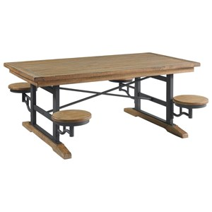 Relaxed Vintage Cafeteria Table with Swivel Seats