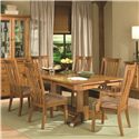 Intercon Highland Park  7 Piece Trestle Dining Set - Item Number: HP-TA-4296-BSE+TOP+2xN460A+4xN460