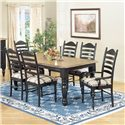 Intercon Hillside Village  Ladder Back Dining Side Chair - Shown with Ladder Back Arm Chairs and Regular Four Leg Dining Table as Set.