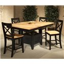Intercon Hillside Village  Gathering Island Table - Shown with X-Back Bar Stools as a Dining Set.